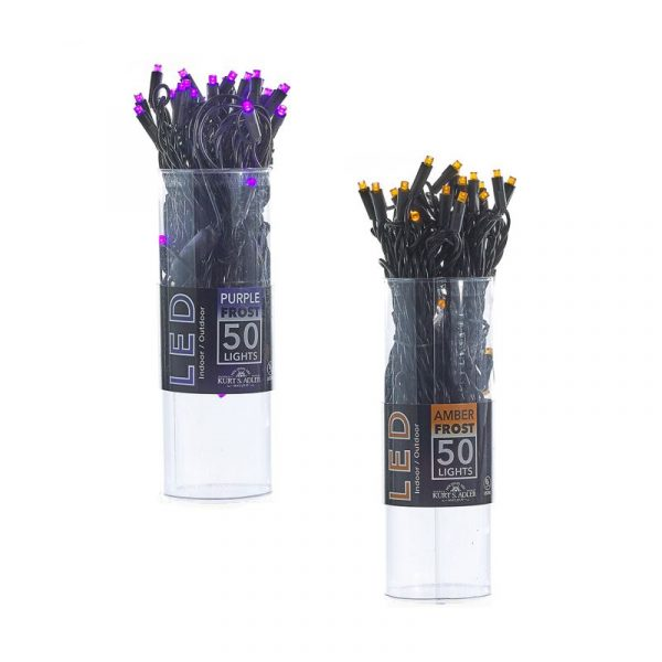 50 Light Amber or Purple Frost Christmas Lights on Black Wire