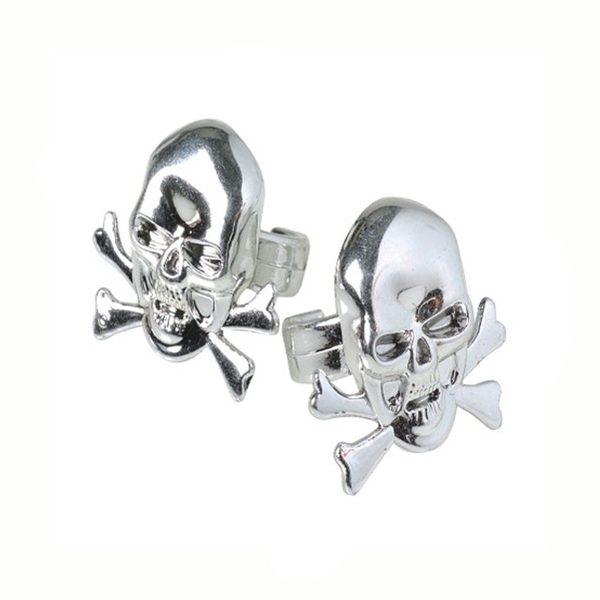 Party Silver Metallic Plastic Skull Crossbones Ring