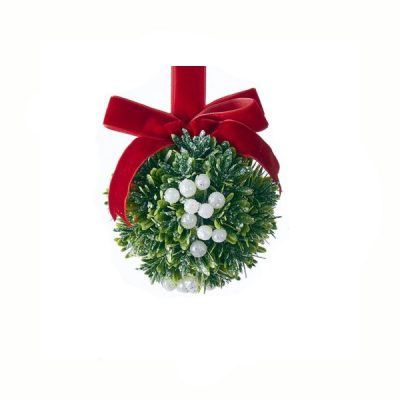 4 Inch Round Christmas Kisses Mistletoe Ball Ornament