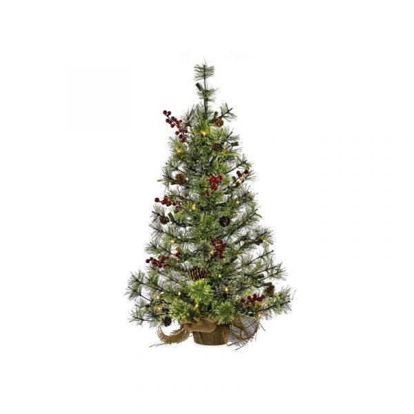24 Inch Pre-Lit Pine Cone Berry Christmas Tree