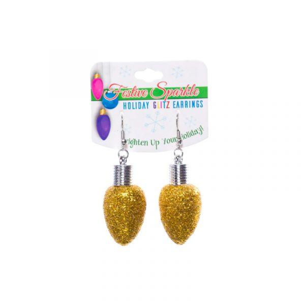 Gold Glittered Christmas Light Bulb Earrings