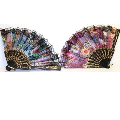 9 Inch Fabric Floral Print Folding Fan w Lace Trim