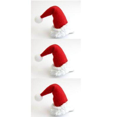 Mini Santa Hat Hair Clips 3 Per Package