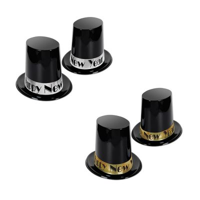 Black Plastic Happy New Year Tall Top Hat