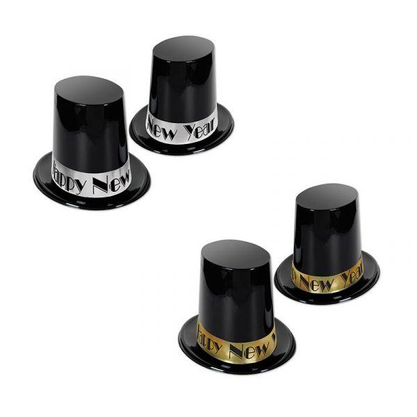 Black Plastic Happy New Year Tall Top Hat
