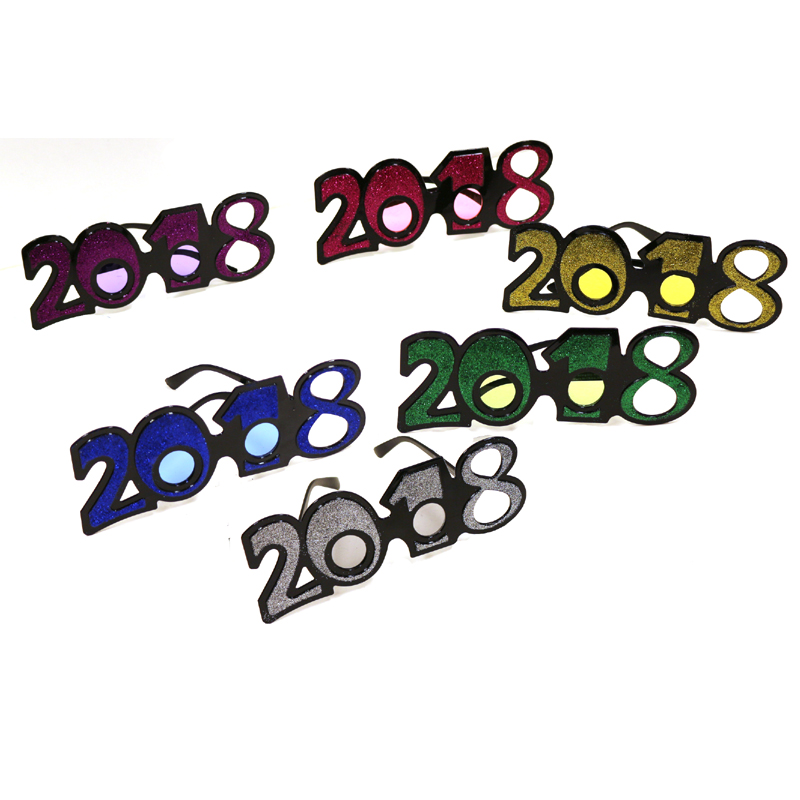 New Year's Eve or Graduation 2018 Glittered Eyeglasses