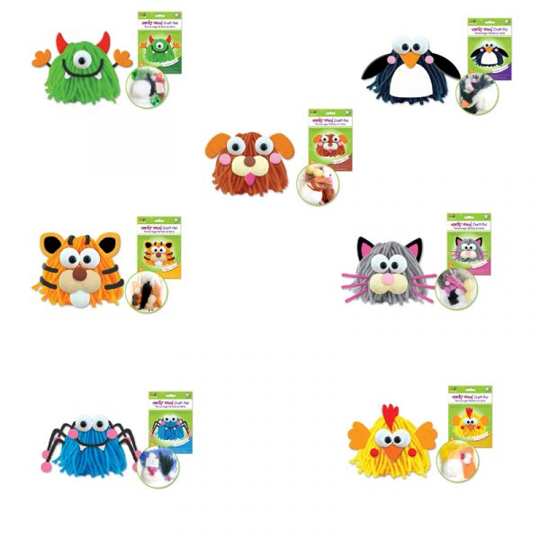 Wacky Wool Craft Kits includes all the makings for 7 different characters: puppy, penguin, tiger, spider, kitten, monster and chicken.