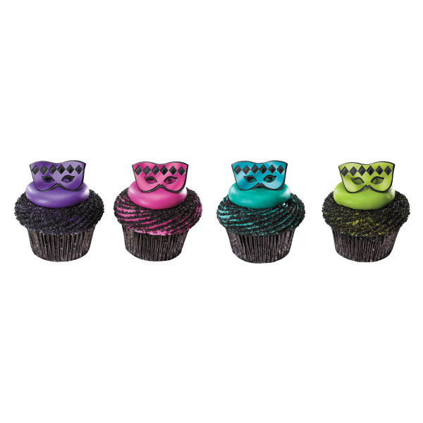Metallic Plastic Mardi Gras Mask Ring Cupcake Decoration