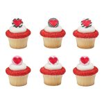 Plastic 3-D Raised Heart Ring Valentine Cupcake Decoration