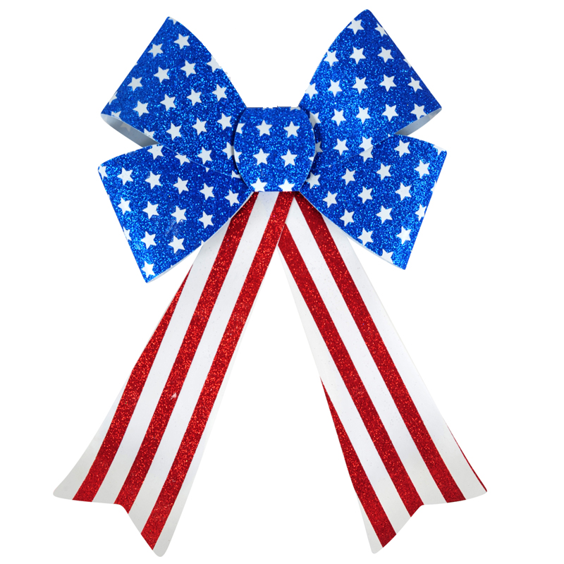 10 Inch x 15 Inch Patriotic Glitter Bow Red White Blue