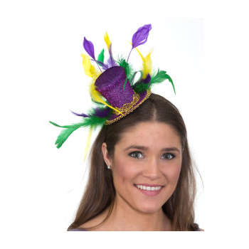 Mardi Gras Trimmed Small Top Hat Headband