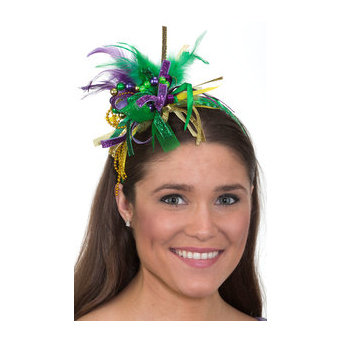 Mardi Gras Trimmed Headband w Beads Ribbons Feathers