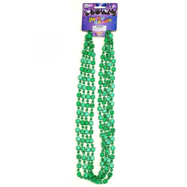 Green Metallic Mini Shamrock Bead Four Necklaces