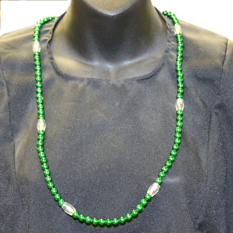Green Saint Patrick's Day Multi-Function Light-up Round Bead Necklace