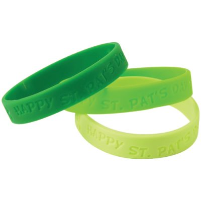 Green Rubber Bracelets Feature Happy St Pats Day