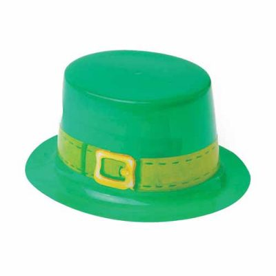 Small Green Plastic Leprechaun Hat w Chin Strap