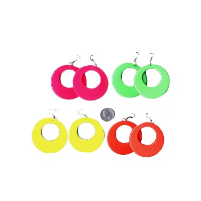 Costume Round Plastic Open Circle Neon Earrings