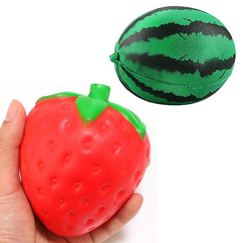 4 Inch Soft Squishy Strawberry Watermelon Keychain Charm