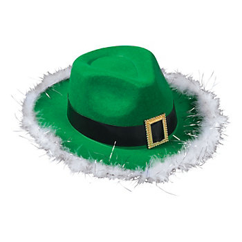 Green Felt Fedora Hat with Buckle and Feather Trim