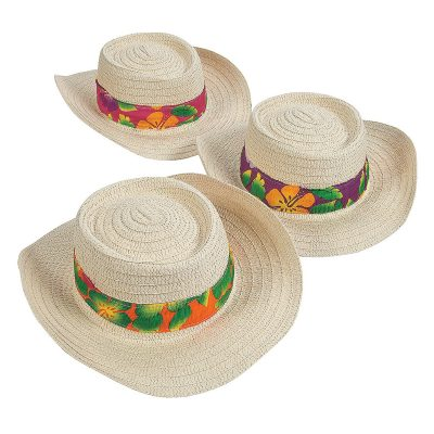 Natural Woven Wire Brim Hat Luau Band