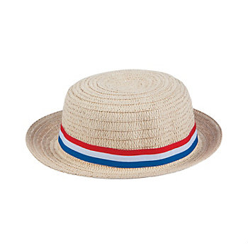 Natural Woven Skimmer Type Hat Patriotic RWB Band
