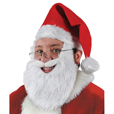Plush Santa Hat with Beard and Moustache
