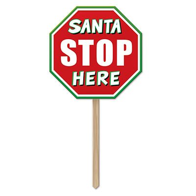 Plastic Santa Stop Here Yard Sign