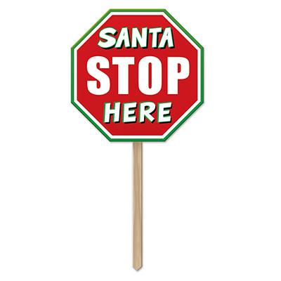 Plastic Santa Stop Here Yard Sign