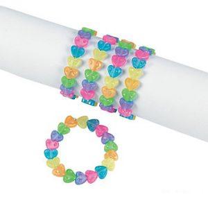 Party Elastic Heart Bead Bracelet