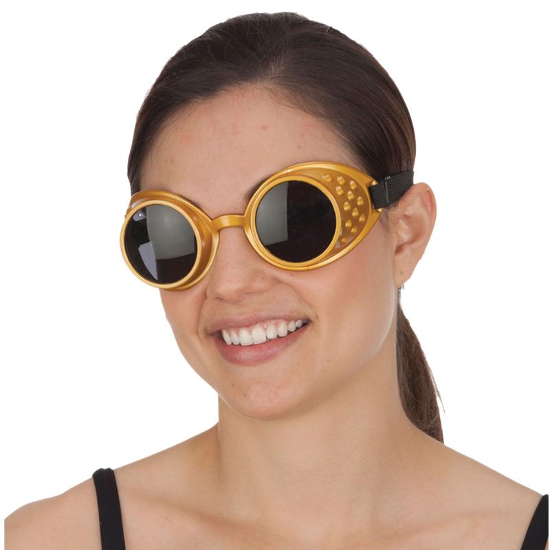 Costume Gold Frame Dark Lens Goggles