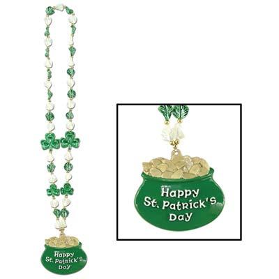 Shamrock Beads with Pot O Gold Medallion