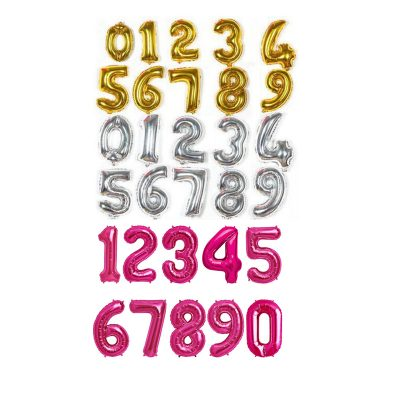 """34"""" Helium Filled Number Balloon Gold Silver Magenta"""