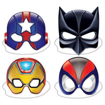 """Deluxe Super Hero Masks comes in a pack of 4. There is Spiderman, Batman, Ironman and Captain America. They are held by an elastic string. They measure 8"""" - 10""""."""