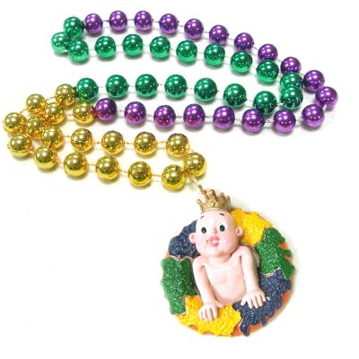 Round Metallic Bead Necklace King Cake Baby