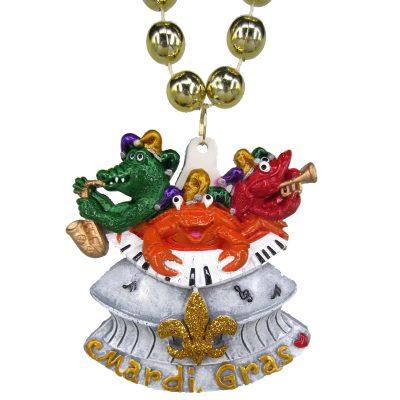 Round Metallic Bead Necklace Mardi Gras Musical Animals