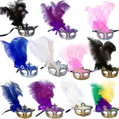 Costume Glittered Venetian Half Masks with Feathers