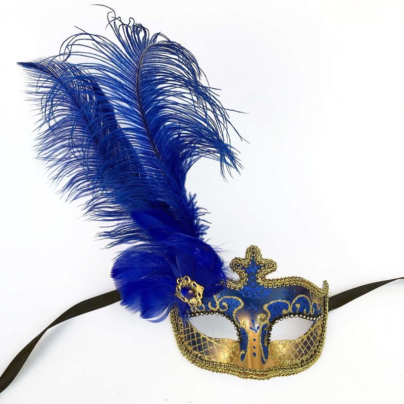 buy glittered venetian half mask w feathers cappel s