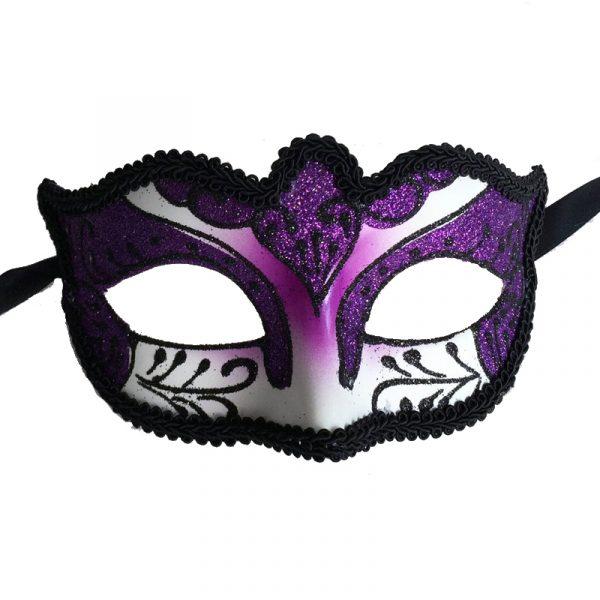 Purple Venetian Half Mask with Black Brocade Trim