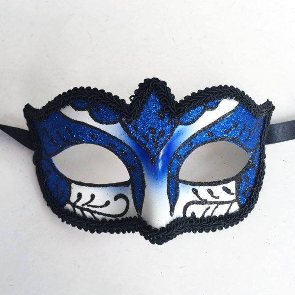 Royal Blue Glittered Venetian Half Mask with Black Brocade Trim