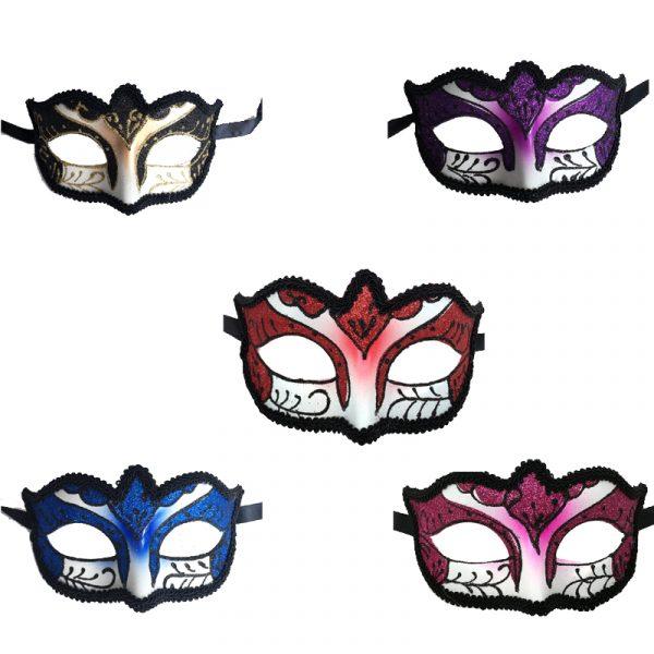 Glittered Venetian Half Masks with Black Brocade Trim