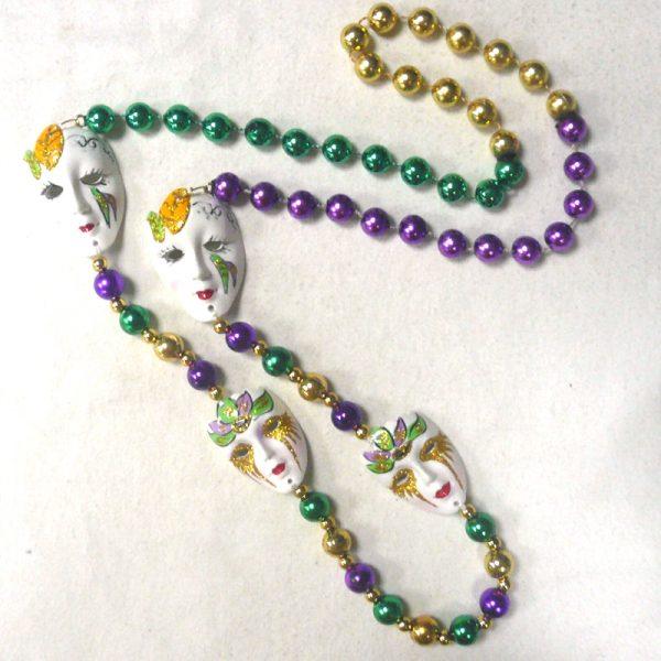 Round Metallic Bead Necklace with 4 Mardi Gras Masks