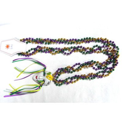 Round Metallic Braided Bead Necklace with Mask Ribbons