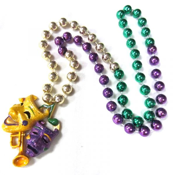 Round Metallic Bead Necklace Glittered Comedy Tragedy Faces