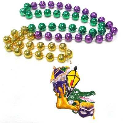 Round Metallic Bead Necklace with Jester Shoe and Alligator