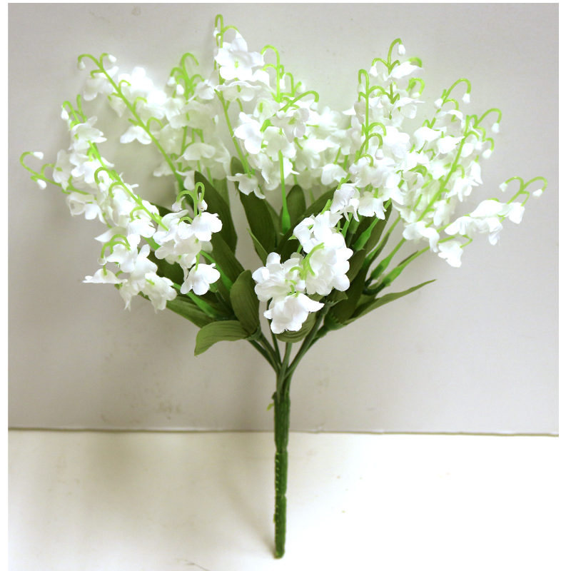 9 stem Lily of the Valley silk flower bush