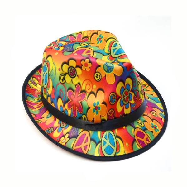 Polyester Peace Flower Smile Face Fedora Hat