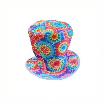 Fabric Rainbow Tie Dye Top Hat