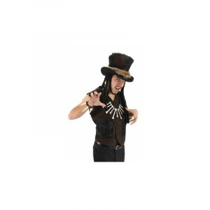 Deluxe Fabric Voodoo Witch Doctor Hat with Dreads