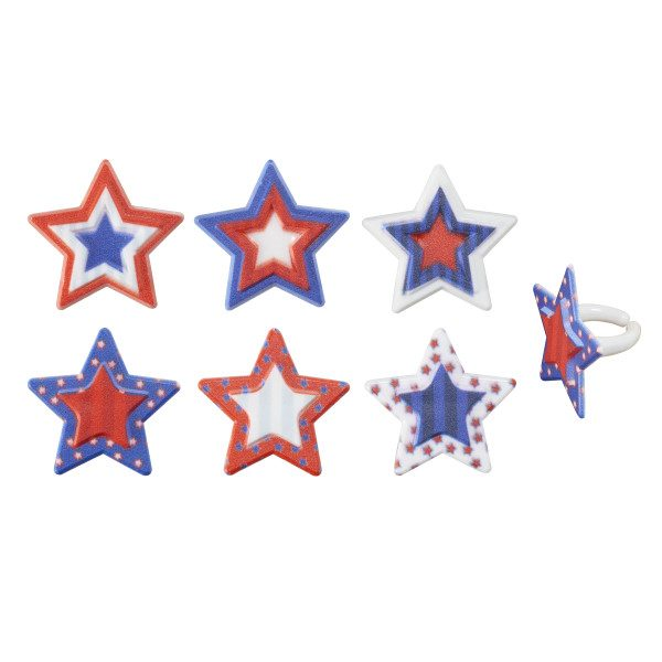 Printed Plastic Patriotic Star Rings