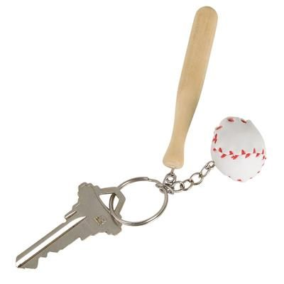 Small Party Wood Baseball Bat and Ball Keychain